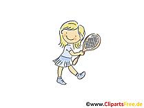 Maedchen spielt Tennis Bild, Sport Clipart, Comic, Cartoon, Image gratis