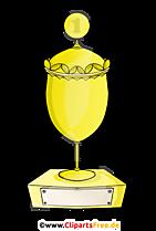 Piala tempat pertama dalam emas Clipart, Ilustrasi, Gambar