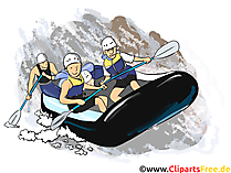 Rafting Clipart, Bild, Cartoon, Comic, Illustration