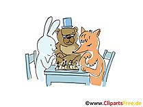 Gioco di scacchi cartone animato, clip art, foto, illustrazione
