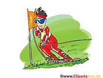 Yaz aylarında kayak karikatür, küçük resim, resim, komik, illüstrasyon