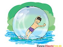Über Wasser laufen Cartoon, Clipart, Bild, Comic, Illustration