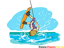 Wakeboard Clipart, Bild, Cartoon, Comic, Illustration