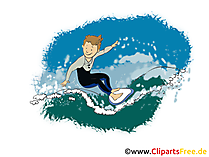 Wellenreiten, Surfing Grafik, Illustration, Bild, Cartoon, Image