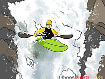 Wildwasser Kanufahren, Kanusport Grafik, Illustration, Bild