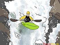 Wildwaterkanoën, grafische kanoën, illustratie, beeld
