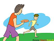 Wurfscheibe spielen Clipart, Bild, Cartoon, Comic, Illustration