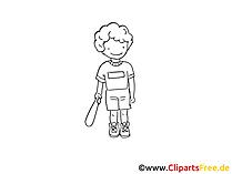 Baseball Zeichnung schwarz-weiss, Bild, Clipart, Comic, Cartoon zum Ausmalen