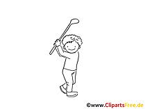 Golf Zeichnung schwarz-weiss, Bild, Clipart, Comic, Cartoon