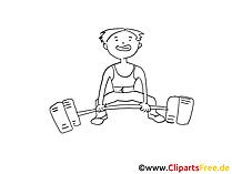 Schwerathlet Zeichnung schwarz-weiss, Bild, Clipart, Comic, Cartoon zum Ausmalen