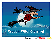Halloween Sprüche in Englisch - Caution, Witch Crossing