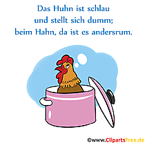 Sprichworte und Redewendungen rund um Huhn und Hahn als Bilder