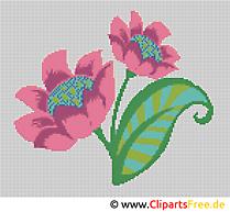 Blume im Feld Bild-Vorlage zum Sticken