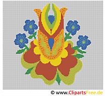 Blume Kreuzstich sticken