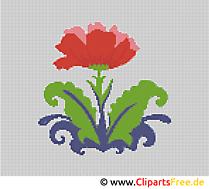 Blume Stickvorlage Kreuzstich kostenlos