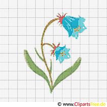 Glockenblume Stickvorlagen Kreuzstich kostenlos