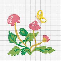 Liebevolle Kreuzstichentwürfe Klee und weitere Blumen