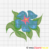 Sticken Kreuzstich blaue Blume