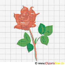 Stickmuster rote Rose Blumen