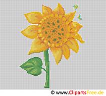 Stickvorlage Sonnenblume - Stickbilder Vorlagen zum Ausdrucken