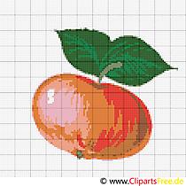 Kreuz Sticken Obst Apfel