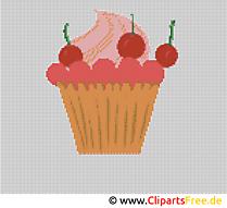 Sticken Kreuzstich Kuchen mit Kirsche