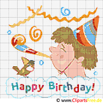 Free Cross-Stitch Template Happy Birthday