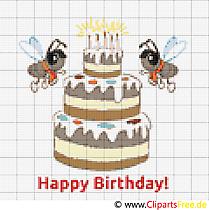 Verjaardagstaart Foto borduursjabloon voor afdrukken