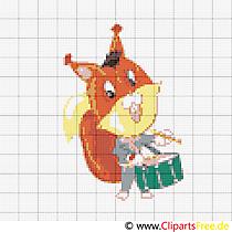 Wiewiórka z wzorem haftu krzyżykowego