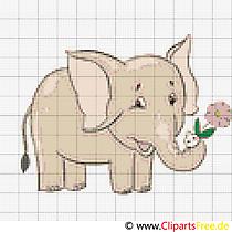 Kreuzstichbild Elefant