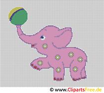 Szablon haftu krzyżykowego Mały słoń - szablony do haftowania