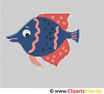 Kreuzstichvorlagen zum Ausdrucken Fisch im Aquarium