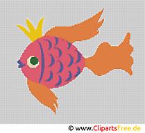 Stickbild Kreuzstich Goldfisch