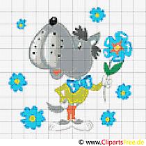 Borduurontwerpen Kruissteek cartoon Wolf