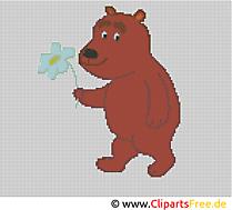 Stickmuster Kreuzstich Bär