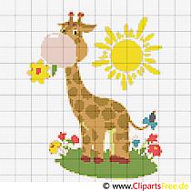Stickmuster Kreuzstich Giraffe im Zoo