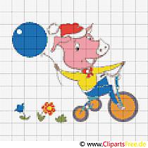 Stickmuster Kreuzstich kostenlos Schweinchen auf dem Fahrrad