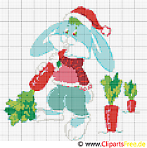 Cross stitch Easter bunny with carrots