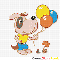 Borduursjablonen gratis download hond met ballonnen