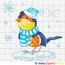 Stickvorlagen gratis Winter, Gimpel, Weihnachten