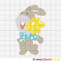 Stickvorlagen kostenlos zum Ausdrucken Hase