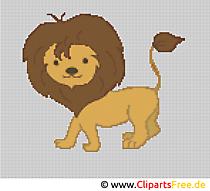 Cross stitch lion w zoo