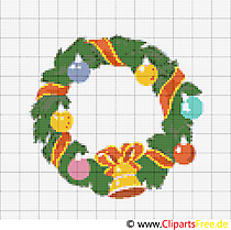 Kranz Stickvorlage zu Weihnachten und Neujahr