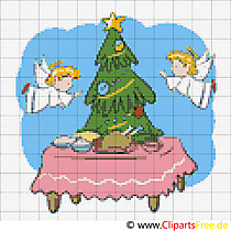 Weihnachts Baum und Engel Weihnachtsmotiv zum Sticken