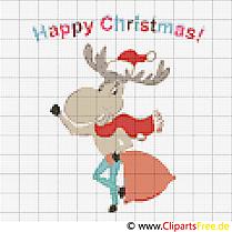 Weihnachtselch, Elch Weihnachten Stickvorlage gratis