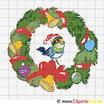 Weihnachtskranz Stickvorlage kostenlos