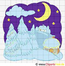 Wintermotiv Bild Stickvorlage