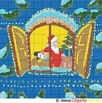 Zum Ausdrucken Stickvorlage Fenster Weihnachtsmotiv