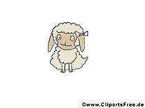 動物 - 羊の赤ちゃんの赤ちゃん漫画写真
