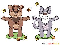 漫画の動物 - クマと子猫